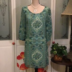 🦚Green print dress